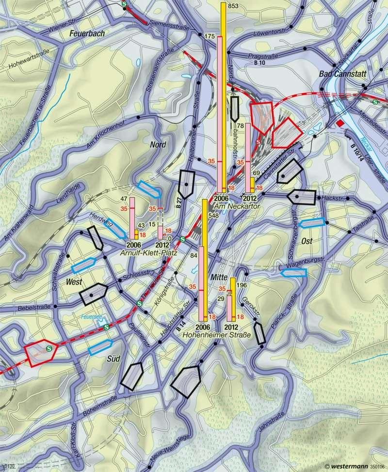 Stuttgart | Verkehrsbelastung | Metropolregion Stuttgart | Karte 49/4