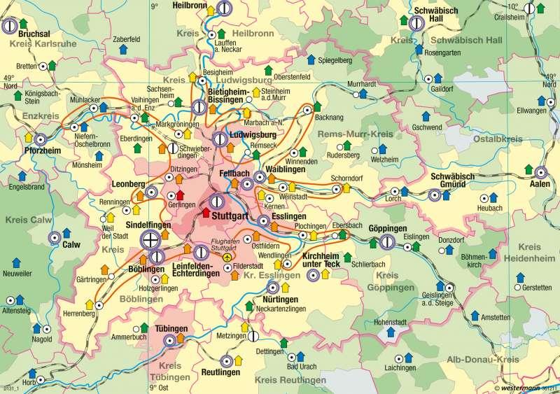 Region Stuttgart | Wohnen und Beschäftigung | Metropolregion Stuttgart | Karte 49/5