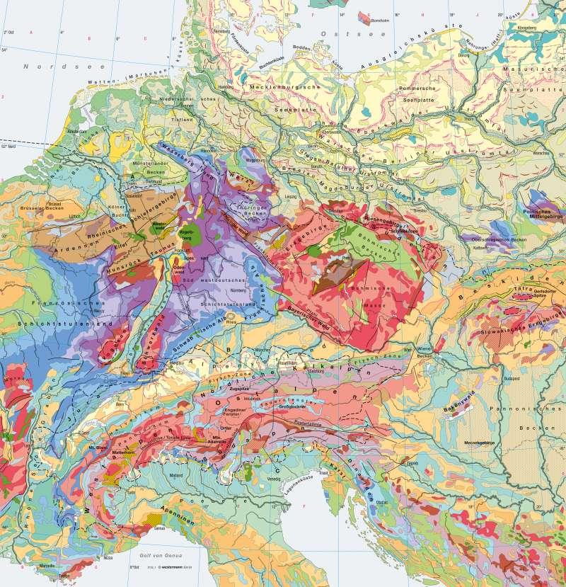 Mitteleuropa | Geologie/Eiszeitformen | Europa - Erdgeschichte und Geologie | Karte 88/3