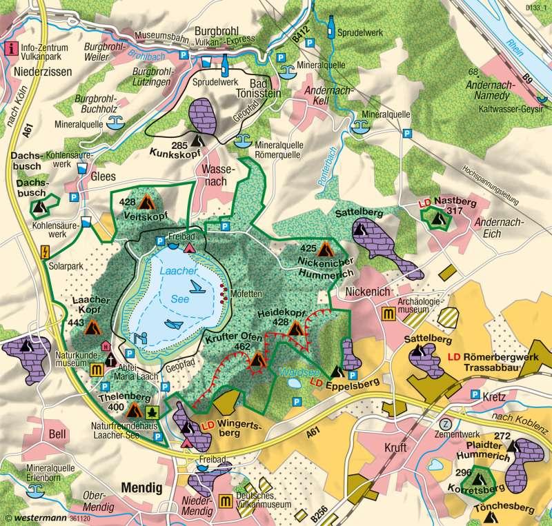 Vulkanregion Laacher See | Nutzungskonflikte | Deutschland - Naturraum | Karte 53/3