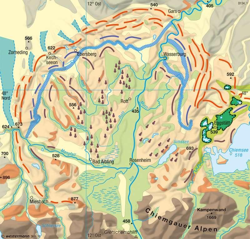 Inntal | Alpine Vorlandvergletscherung | Deutschland - Naturraum | Karte 53/4