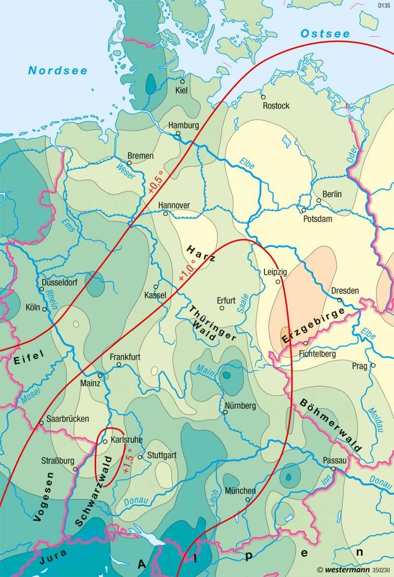 Deutschland | Klimaveränderung 1901-2000 | Deutschland - Umwelt und Klimawandel | Karte 60/2