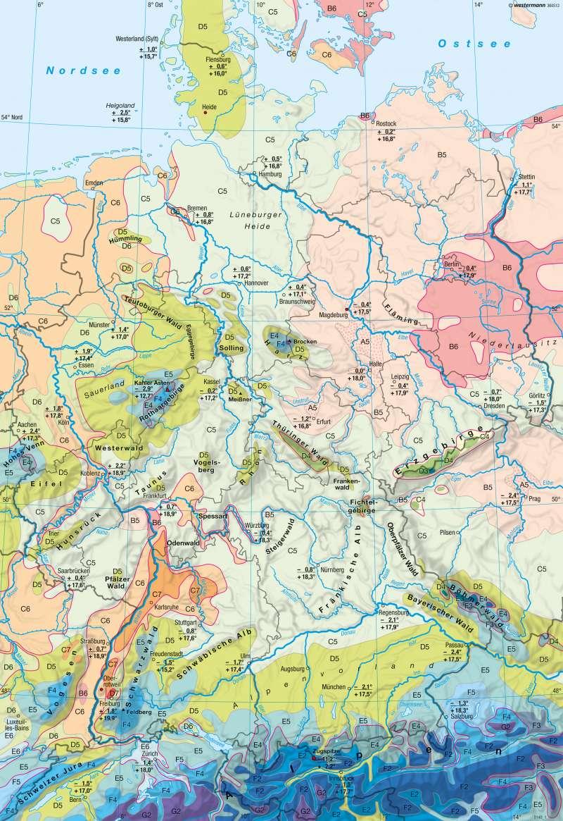 diercke weltatlas kartenansicht deutschland klimaregionen 978 3 14 100800 5 54 1 1. Black Bedroom Furniture Sets. Home Design Ideas