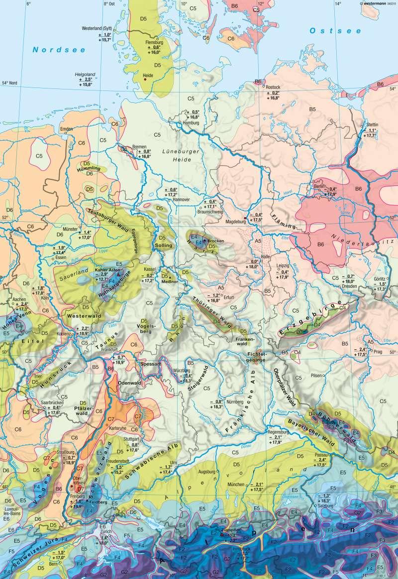 Deutschland | Klimaregionen | Klima | Karte 34/1