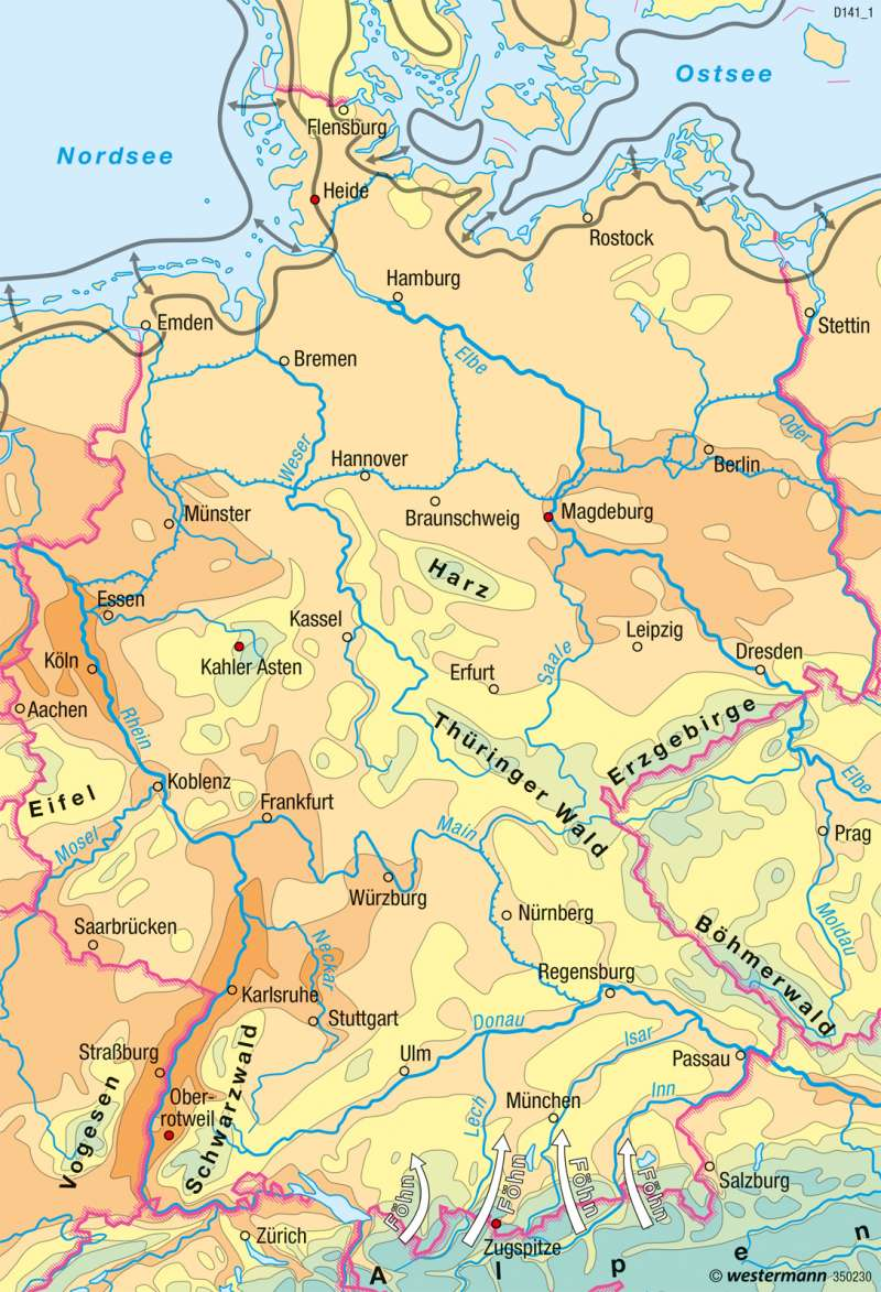 Deutschland | Temperaturen im Jahr | Deutschland - Klima | Karte 55/2