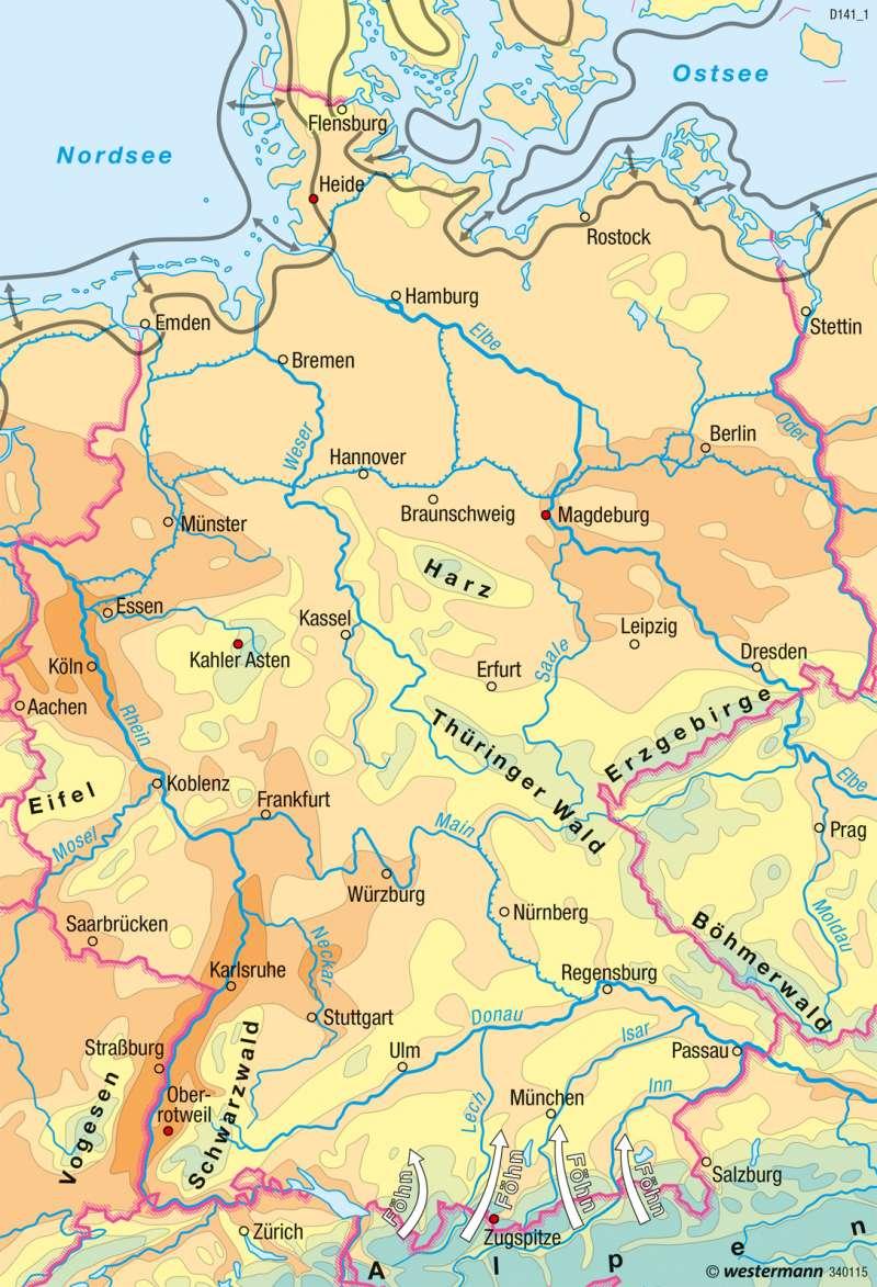 Deutschland   Temperaturen im Jahr   Klima   Karte 35/2