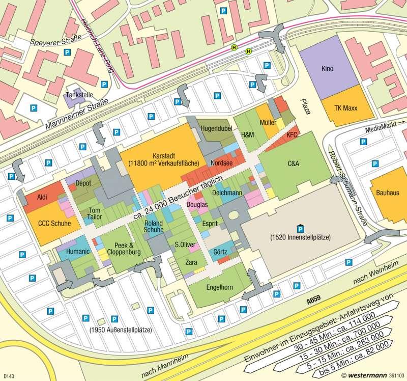 Viernheim | Rhein-Neckar-Zentrum | Deutschland - Stadtstrukturen | Karte 79/4