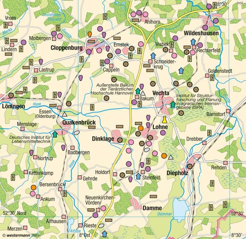 Cloppenburg, Vechta | Agrartechnologie für Veredelungswirtschaft | Deutschland - Landwirtschaftliche Betriebe | Karte 59/5