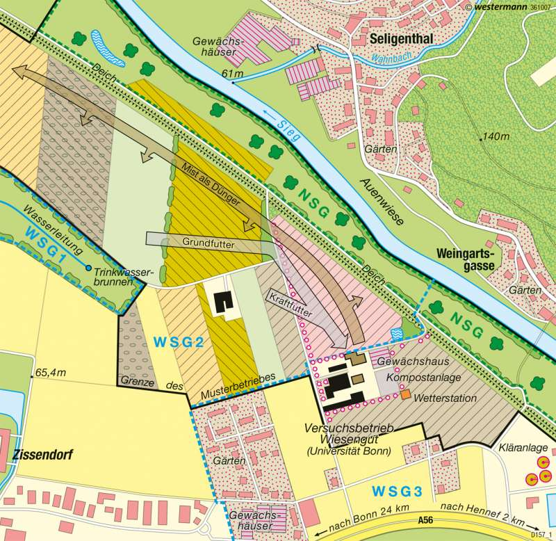 Wiesengut bei Hennef/Sieg | Ökologischer Landbau | Deutschland - Landwirtschaftliche Betriebe | Karte 59/7