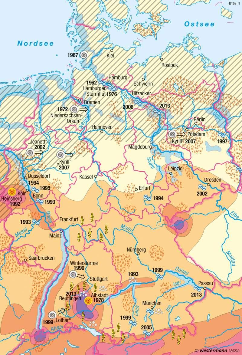 Deutschland | Naturgefahren | Deutschland - Umwelt und Klimawandel | Karte 60/1