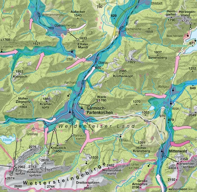 Bayerische Alpen | Umweltgefährdung | Deutschland - Umwelt und Klimawandel | Karte 60/3