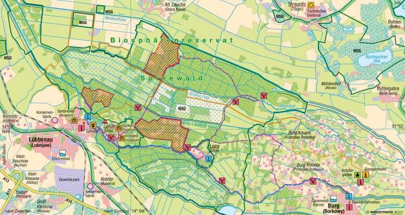 Spreewald | Tourismus im Biosphärenreservat | Deutschland - Tourismus | Karte 63/3