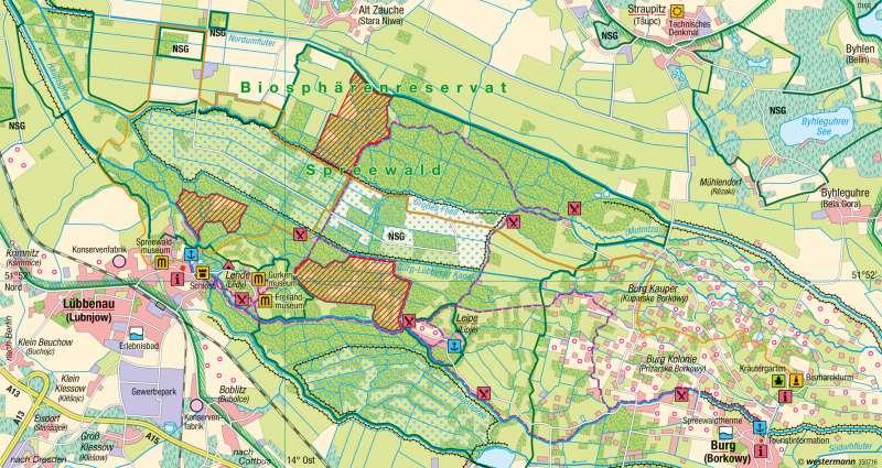 Spreewald   Tourismus im Biosphärenreservat   Tourismus   Karte 43/3