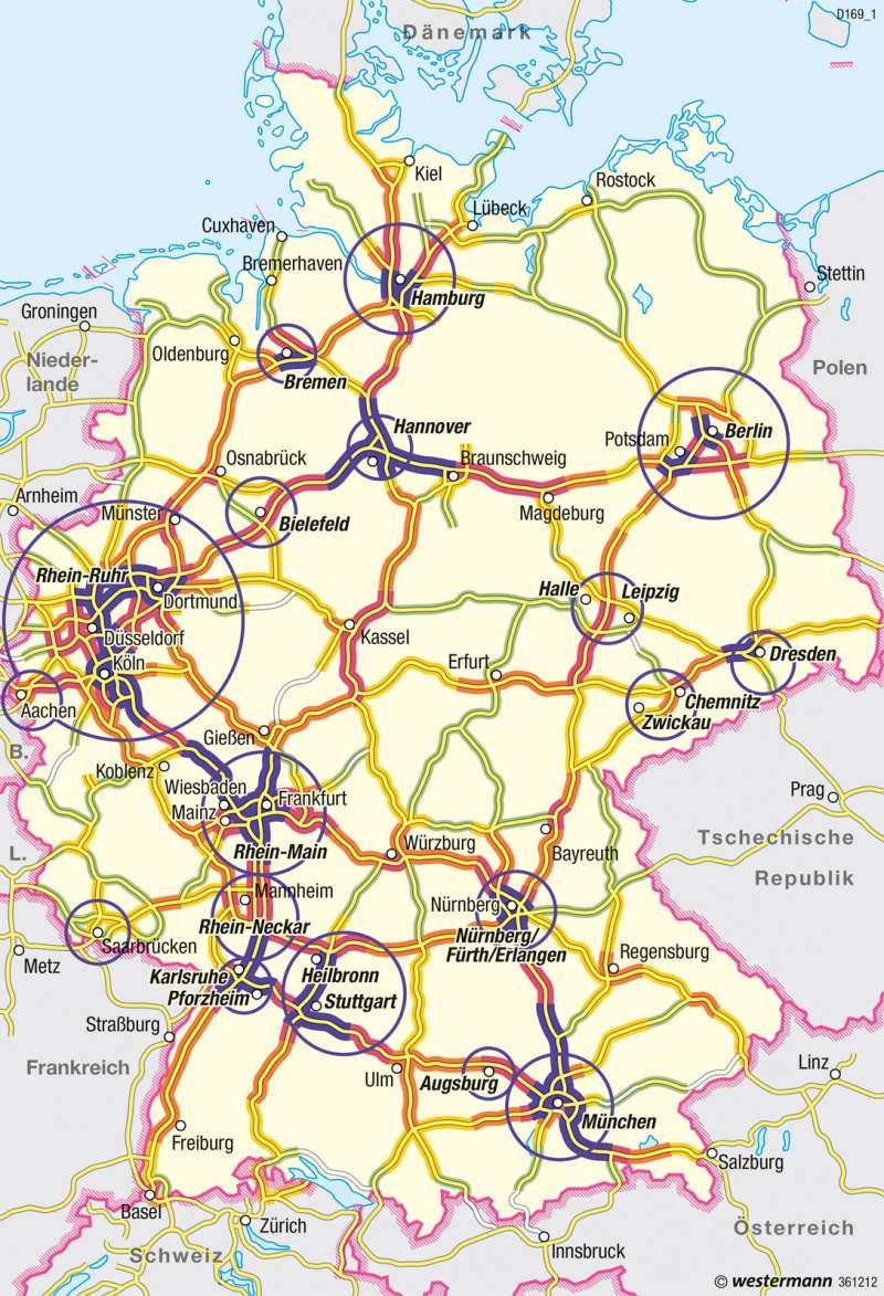 Deutschland Karte Autobahnen Und Städte.Diercke Weltatlas Kartenansicht Deutschland Straßenverkehr