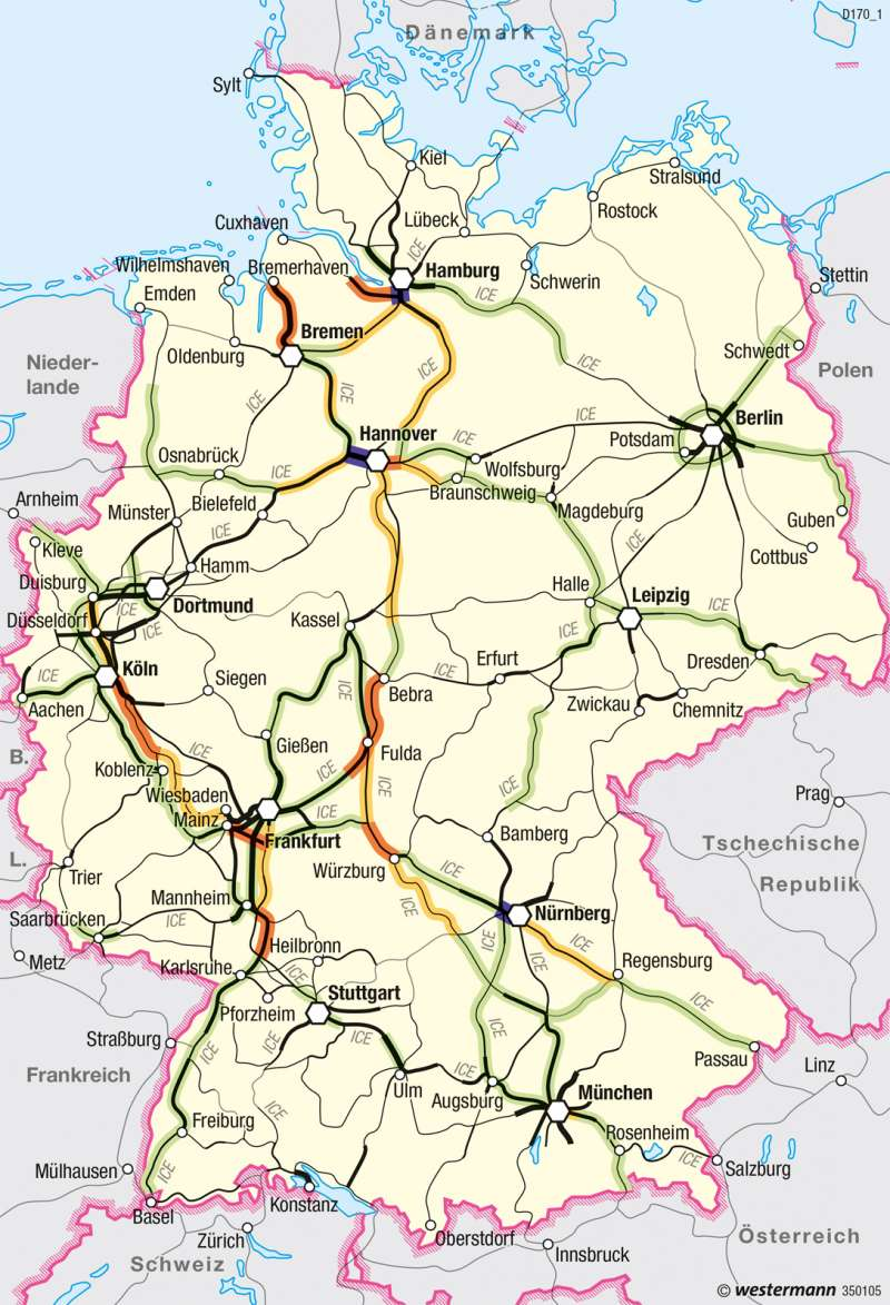 eisenbahnstrecken deutschland karte Diercke Weltatlas   Kartenansicht   Deutschland   Schienenverkehr
