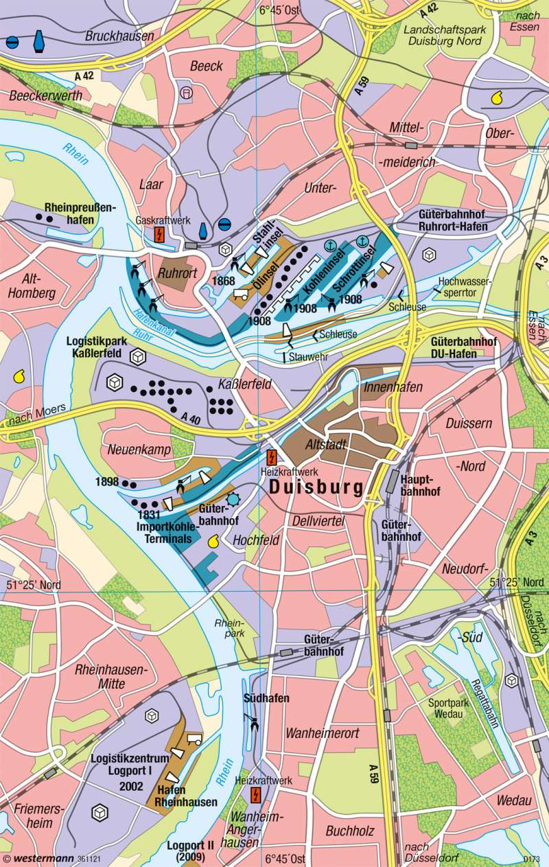 Diercke Weltatlas Kartenansicht Duisburg Binnenhafen 978 3