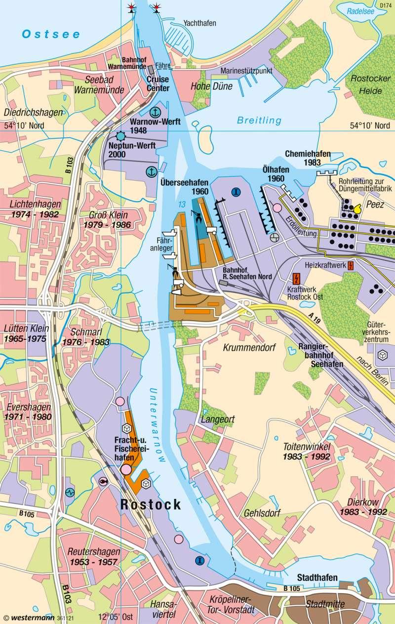 warnemünde karte Diercke Weltatlas   Kartenansicht   Rostock   Seehafen   978 3 14