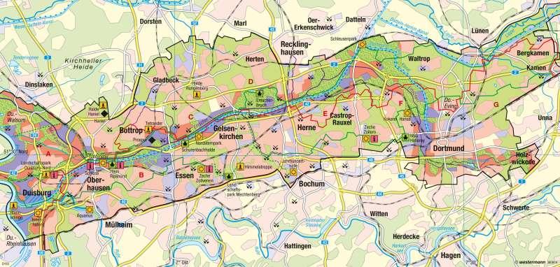 Emscher Landschaftspark | Landschaft des Strukturwandels | Deutschland - Raumordnung und Nachhaltigkeit | Karte 73/4