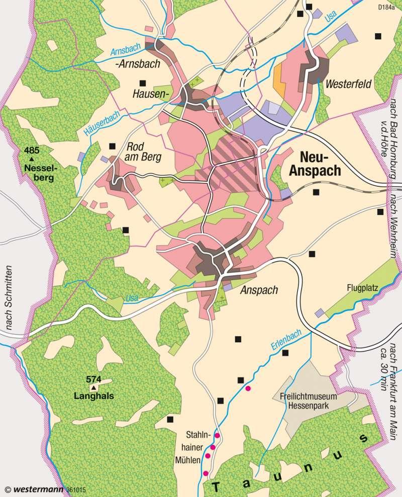 Neu-Anspach (Hessen) | Siedlungsschwerpunkt | Deutschland - Wandel ländlicher und städtischer Siedlungen | Karte 76/1