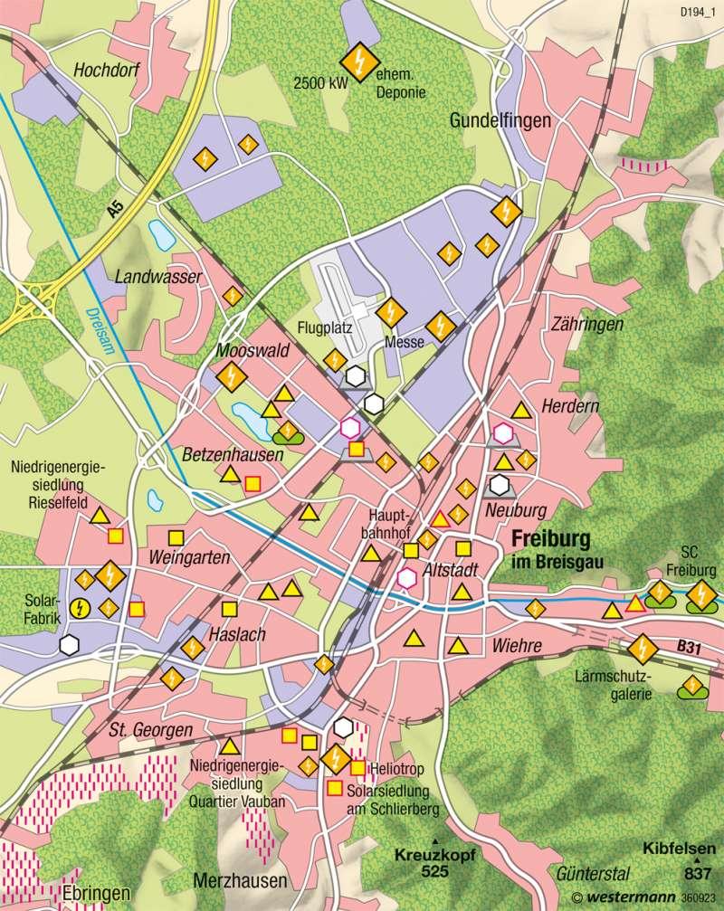 Freiburg im Breisgau | Solarprojekte | Deutschland - Regenerative Energien und Nachhaltigkeit | Karte 69/7