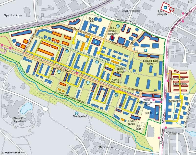 Quartier Vauban (Freiburg) | Nachhaltige Stadtentwicklung | Deutschland - Regenerative Energien und Nachhaltigkeit | Karte 69/8