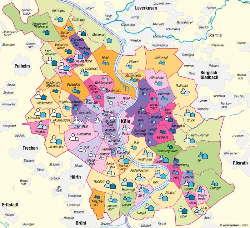 Köln Karte Deutschland.Diercke Weltatlas Kartenansicht Köln Sozialräumliche