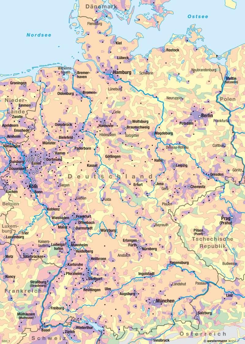 Deutschland | Bevölkerungsdichte 2015 | Deutschland - Historische Entwicklung | Karte 82/1