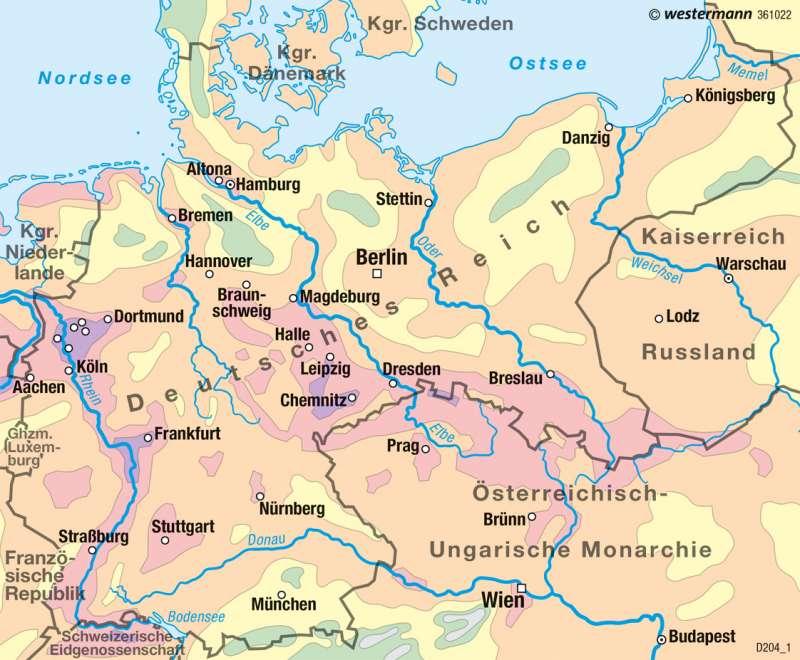 Deutsches Reich   Bevölkerungsdichte 1900   Deutschland - Historische Entwicklung   Karte 82/2