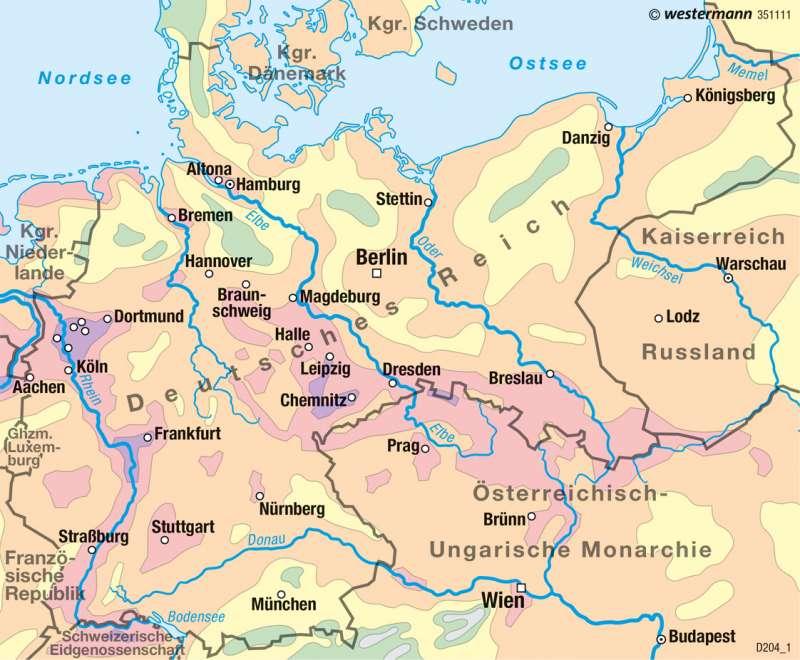 Deutsches Reich | Bevölkerungsdichte 1900 | Historische Entwicklung | Karte 52/2