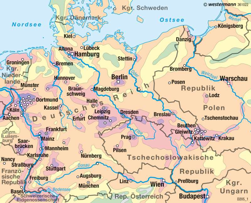 Deutsches Reich | Bevölkerungsdichte 1937 | Deutschland - Historische Entwicklung | Karte 82/3