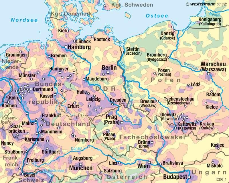 Bundesrepublik Deutschland/DDR | Bevölkerungsdichte 1970 | Deutschland - Historische Entwicklung | Karte 82/4