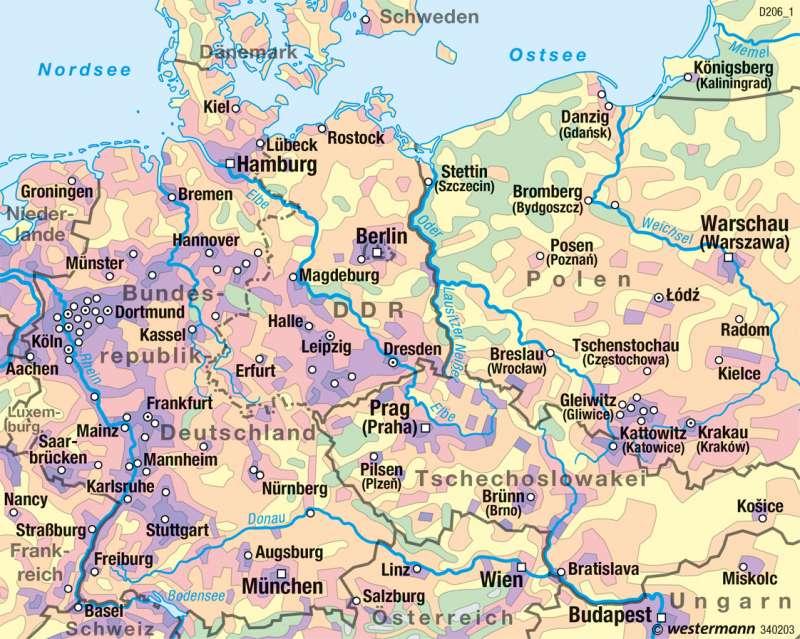 Bundesrepublik Deutschland/DDR | Bevölkerungsdichte 1970 | Historische Entwicklung | Karte 52/4