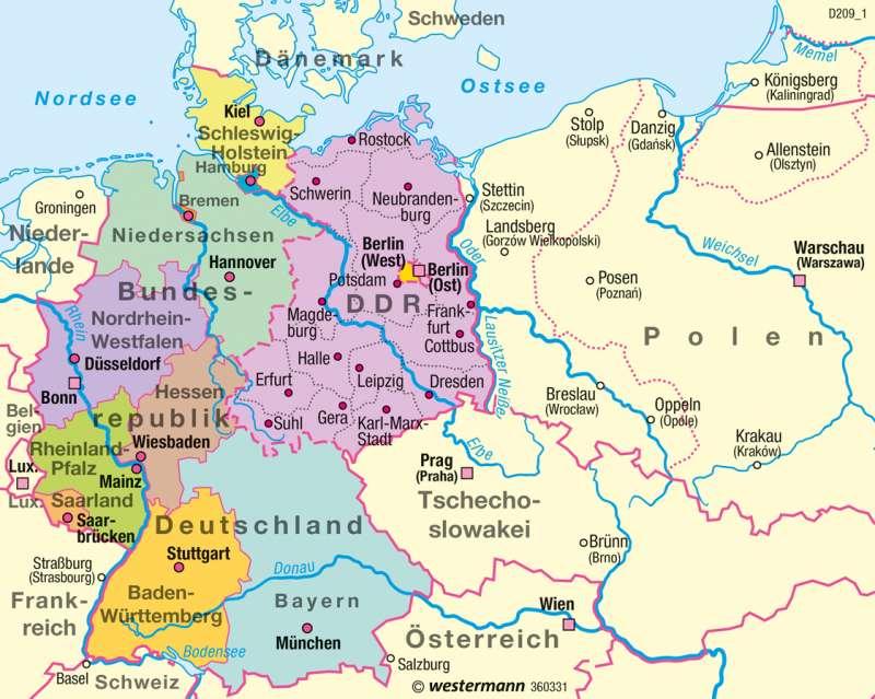 Diercke Weltatlas Kartenansicht Bundesrepublik Deutschland Ddr