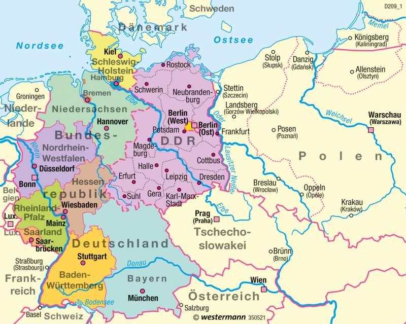 Bundesrepublik Deutschland/DDR   bis 1990   Historische Entwicklung   Karte 53/8