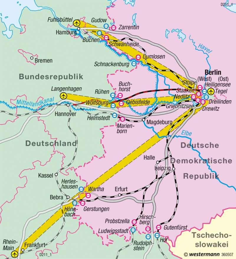 | Berlins Verbindungen zur Bundesrepublik bis 1990 | Deutschland - Historische Entwicklung | Karte 83/10