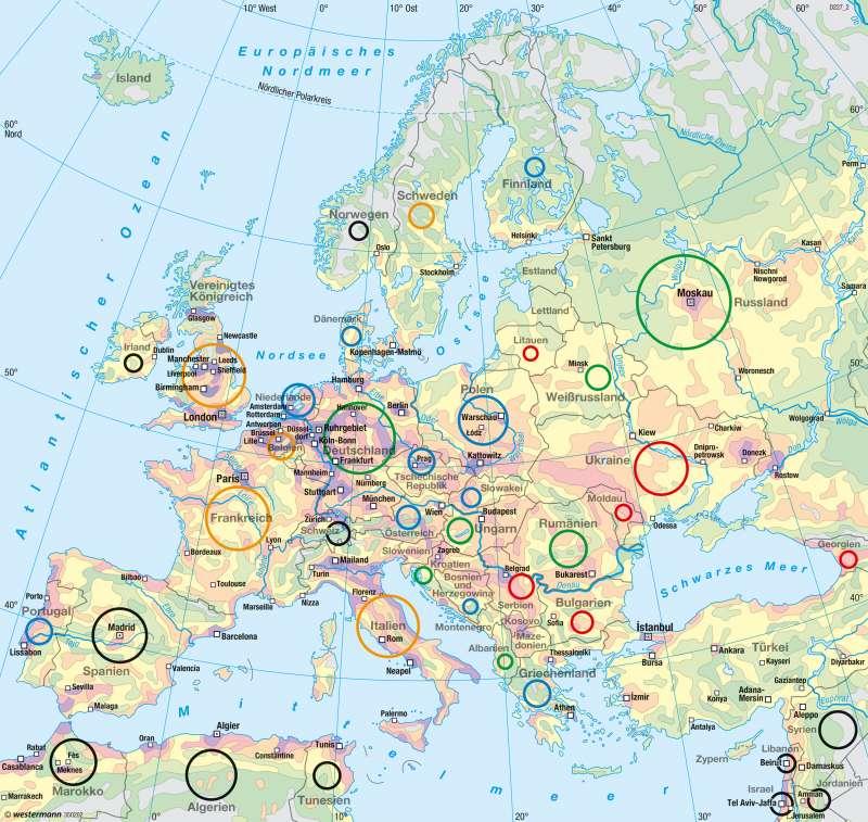 Europa | Bevölkerung | Europa - Bevölkerung | Karte 102/1