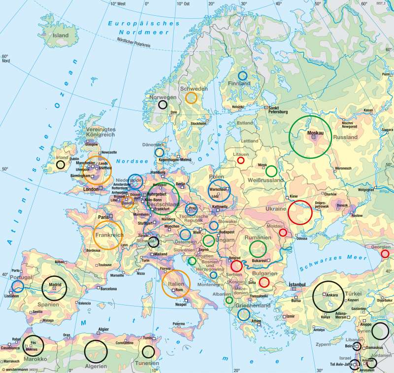 Europa   Bevölkerung   Bevölkerung   Karte 66/1