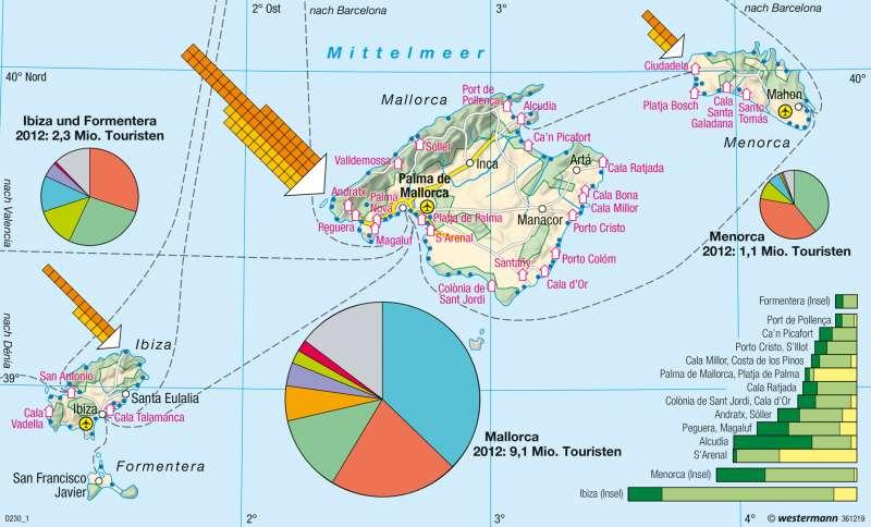 Balearen | Tourismus | Europa - Tourismus | Karte 105/4