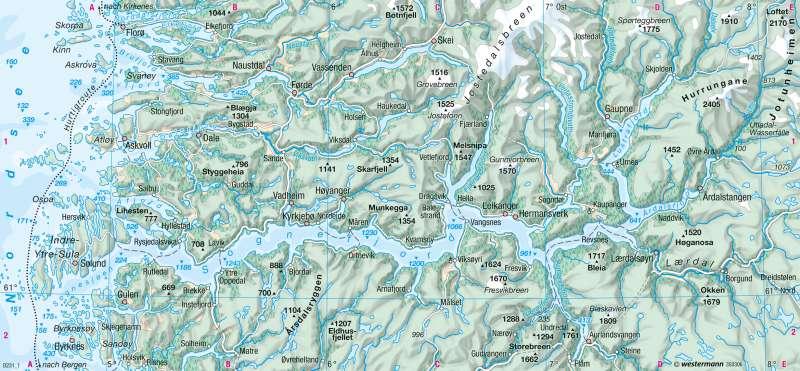Norwegen   Fjordküste   Physische Karte   Karte 69/3