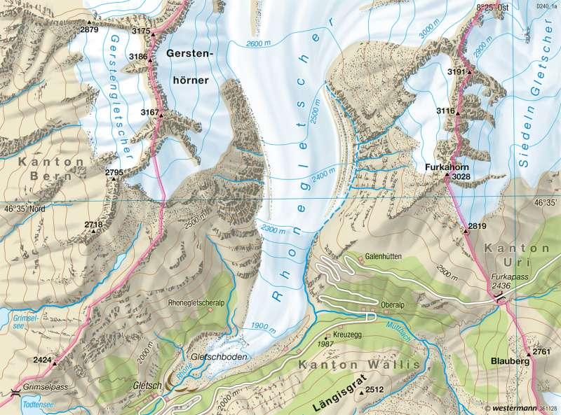 Rhonegletscher | Gletscherrückzug | Alpen - Tourismus und Umwelt | Karte 116/2