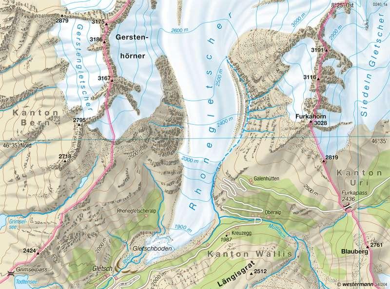 Rhonegletscher | Gletscherrückzug | Tourismus und Umwelt | Karte 78/2