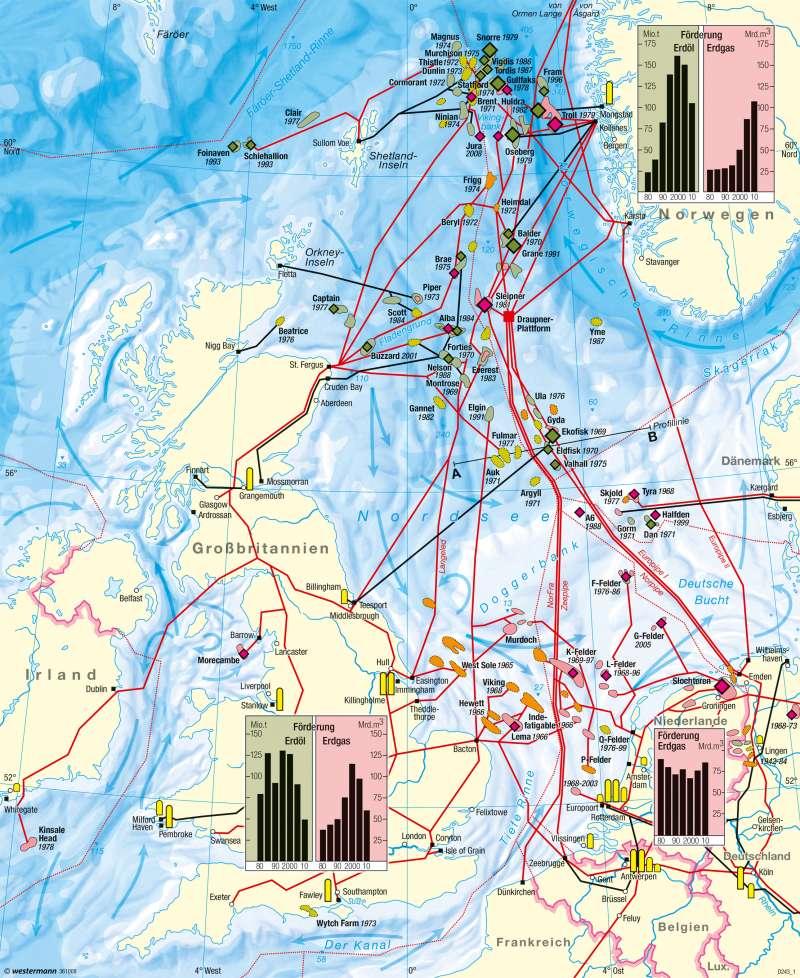 Nordsee | Erdöl- und Erdgasförderung | Nordsee - Erdöl und Erdgas | Karte 120/1