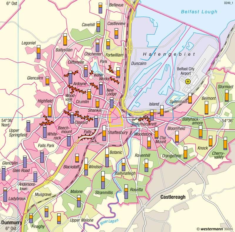 Belfast | Segregation | Nordirland, England - Räumliche Entwicklungsfaktoren | Karte 125/2