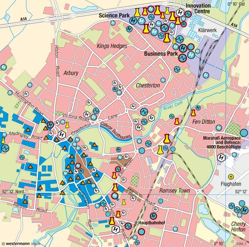 Cambridge | Hightech-Cluster | Nordirland, England - Räumliche Entwicklungsfaktoren | Karte 125/3