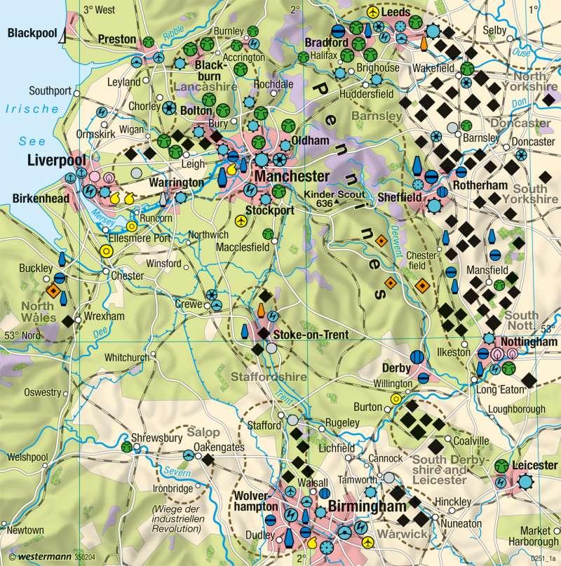 Nord- und Mittelengland | Strukturwandel | Nordirland, England - Räumliche Entwicklungsfaktoren | Karte 125/4
