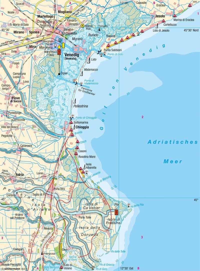 Lagune von Venedig, Podelta | Küstenlandschaften | Italien - Venedig | Karte 135/3
