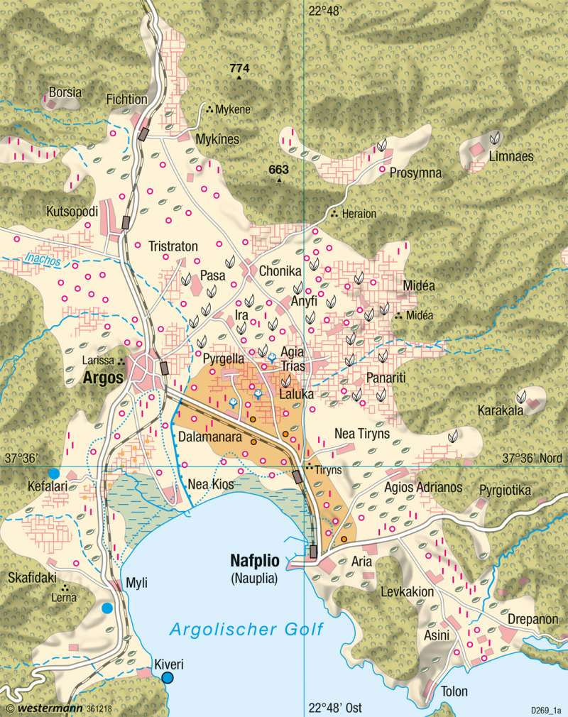 Karte Griechenland Deutsch.Diercke Weltatlas Kartenansicht Argolis Griechenland