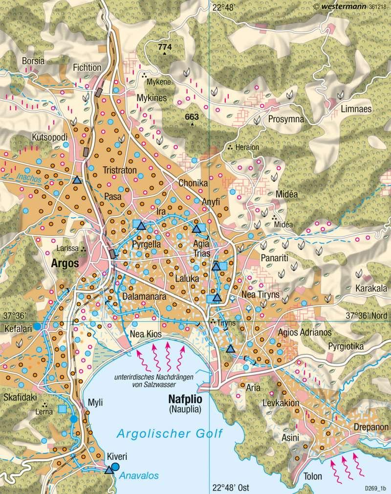 Argolis (Griechenland) | Landschaftswandel | Südeuropa - Mediterrane Kulturlandschaften | Karte 137/4