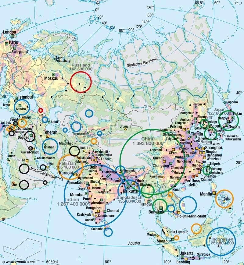 Asien | Bevölkerung | Asien - Staaten und physische Übersicht | Karte 162/2