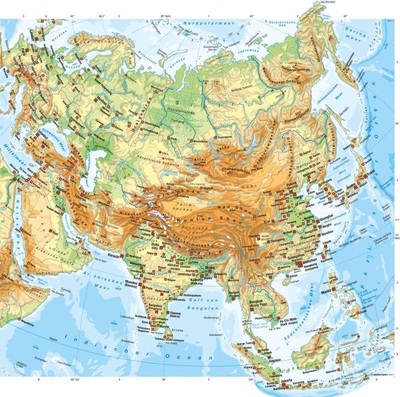Asien | Physische Übersicht | Staaten und physische Übersicht | Karte 110/3